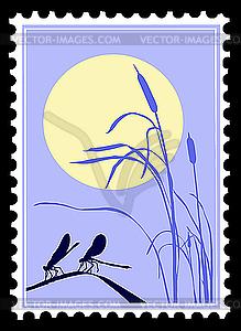 Silhouette von Libellen auf Briefmarke - Clipart-Bild