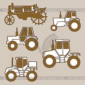 Silhouetten von Traktoren - Vektor-Clipart / Vektor-Bild