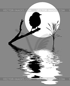 Kleiner Vogel auf dem Zweig über Wasser - vektorisiertes Clip-Art