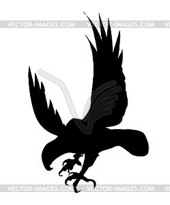 Silhouette des gefräßigen Vogels - Vektorabbildung