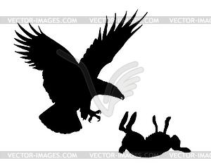 Adler und Hase - vektorisiertes Clip-Art