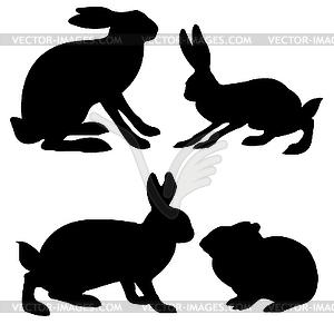 Silhouetten - Hase und Kaninchen - Vektor Clip Art