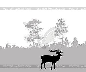 Silhouette der Hirsche - Stock-Clipart