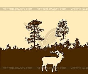 Silhouette der Hirsche - Vektor-Bild