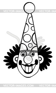 Silhouette Clown - Vector Clip Art