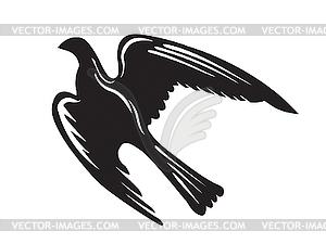 Silhouette des gefräßigen Vogels - vektorisierte Grafik