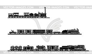 Set von alten Zügen - Vektorabbildung