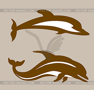 Zwei Delphine - Vector Clip Art