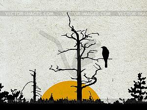 Grunge-Hintergrund mit Wald und Vogel auf dem Zweig - Vektorgrafik-Design
