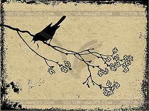 Grunge-Hintergrund mit Vogel - Vector-Bild