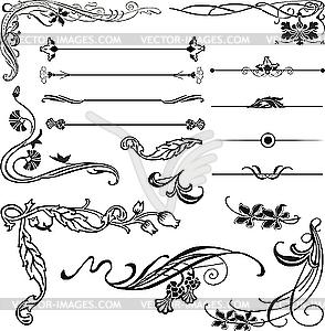 Jugendstil-Ornamente und Ecken - Vektor-Abbildung