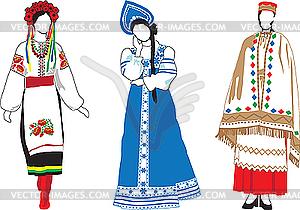 Slawische Mädchen in Trachten - Vektor-Klipart