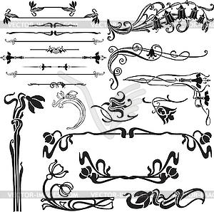 Jungendstil-Dekorationen - Vektorgrafik