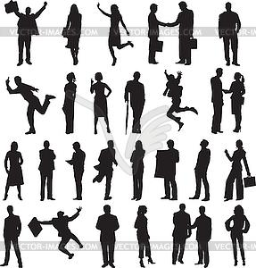 Satz von Silhouetten von Geschäftsleuten - Vektor-Abbildung