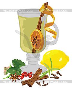 Stillleben Tee und Gewürze - Vektorgrafik