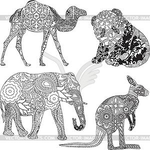Животных в орнаментом иллюстрация в
