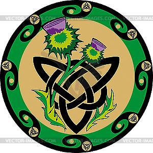 Keltischer Knoten mit Distel - Vector-Clipart / Vektor-Bild