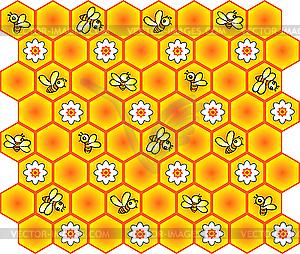 Hintergrund mit Bienen und Waben - Vector-Clipart