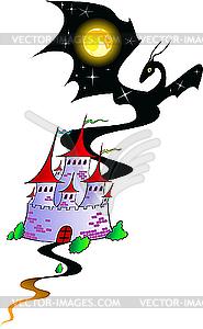 Märchenschloss mit einem Drache - Vektor-Illustration