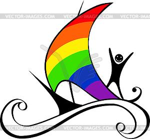 Boot mit Segel als Regenbogen - Klipart