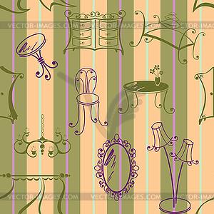 Nahtlose Hintergrund mit Elementen der Möbel - Royalty-Free Clipart