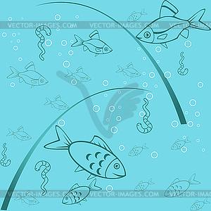 Nahtloser Fischerei-Hintergrund - Clipart-Bild