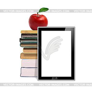 Bücher, Äpfel und Tablet - Vektorgrafik-Design