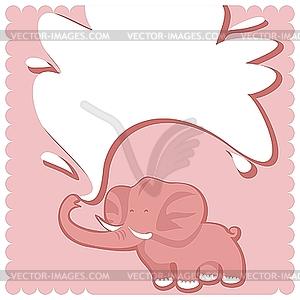 Elefant mit Wasserstrahl in Form eines Rahmens - Vektor-Bild