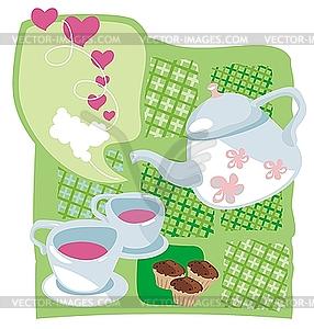 Teekessel und Cupcakes - Vektor-Clipart / Vektor-Bild