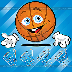 Lustiger lächelnder Basketball - vektorisiertes Design