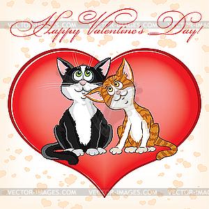 Valentinstagkarte mit Katzen - Royalty-Free Vektor-Clipart