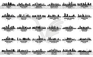 Unglaubliche Reihe von USA Skyline der Stadt. 30 Städte. - Vektor-Klipart