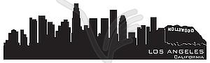 Skyline vonLos Angeles, Kalifornien. Detaillierte Silhouette - Stock-Clipart