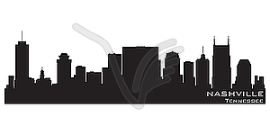 Skyline von Nashville, Tennessee. Detaillierte Silhouette - Vector-Clipart / Vektor-Bild