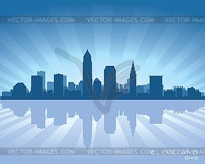 Cleveland, Ohio Skyline - farbige Vektorgrafik