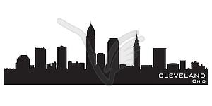 Skyline von Cleveland, Ohio. Detaillierte Silhouette - Vektor-Abbildung
