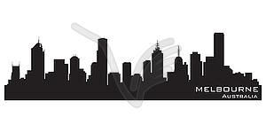 Melbourne, Australien - Skyline. Silhouette - Vector-Clipart