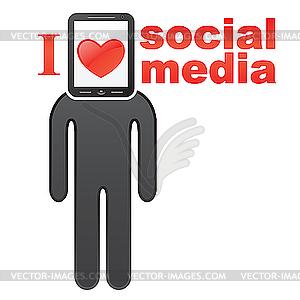 Social-Media-Konzept - Vektor-Skizze