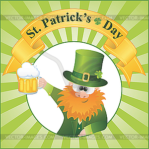 St. Patrick`s Day - Cartoon Leprechaun - Stock Vektor-Clipart