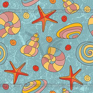 Nahtloses Muster mit Muscheln und Seesternen - Royalty-Free Clipart