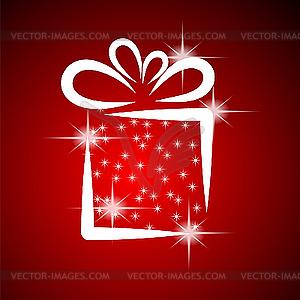 Weihnachtskarte mit Geschenk-Box - Vector-Clipart