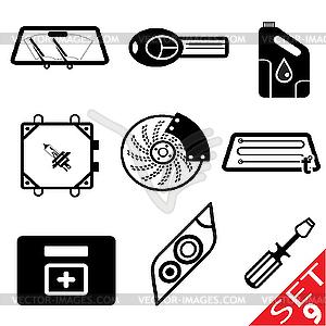 Set von Icons mit Auto-Teilen - vektorisiertes Clip-Art