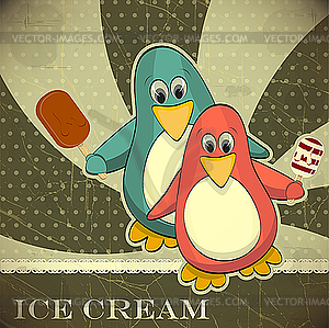 Pinguine mit Eis - Vektor-Clipart
