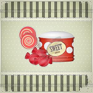 Vintage-Postkarte - Süßigkeiten - vektorisiertes Bild