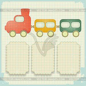 Retro-Hintergrund mit Spielzeug-Zug - Vektor-Illustration