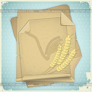 Grunge-Papier mit Weizen-Ähren - Vektor-Bild