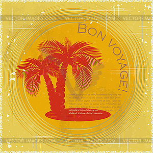 Vintage-Postkarte - zwei Palmen - vektorisiertes Design