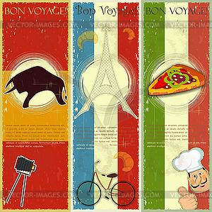 Set Weinlesereise Postkarte - Französisch, Italienisch und Spanisch die - Clipart-Bild