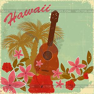 Hawaiische Vintage-Postkarte - Vektor Clip Art