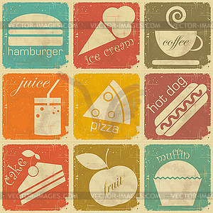Set Vintage Etiketten von Lebensmitteln - vektorisierte Grafik